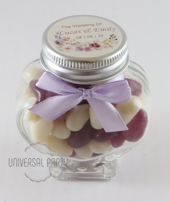 Personalised Glass Heart Shaped 60ml Jar Filled With Jelly Beans - Lilac Lavender Purple Floral Themed