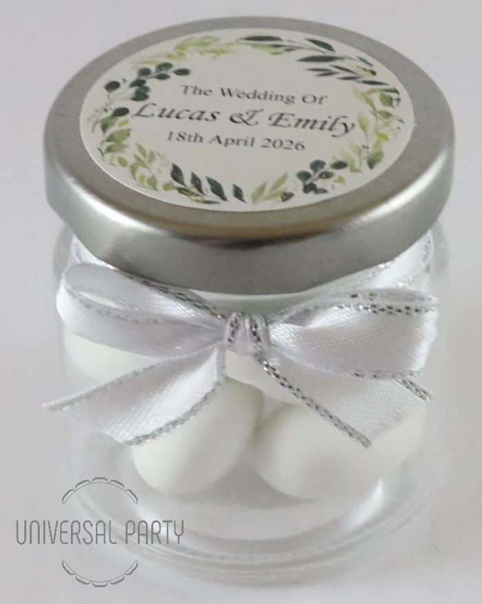Personalised Glass Round 60ml Jar Filled With Sugared Almonds - Greenery Floral