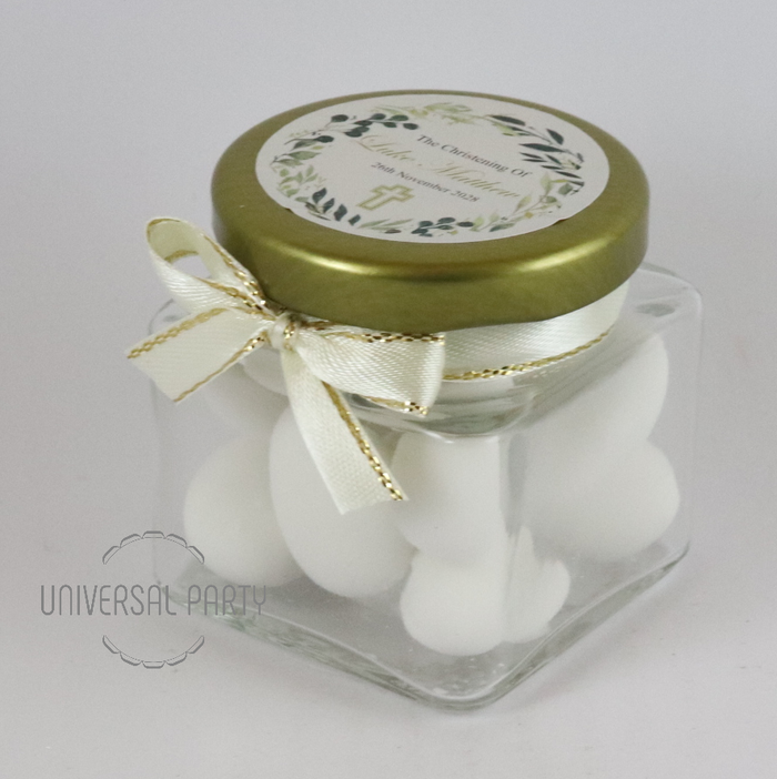 Personalised Glass Square 80ml Jar Filled With Sugared Almonds - Greenery Floral Cross