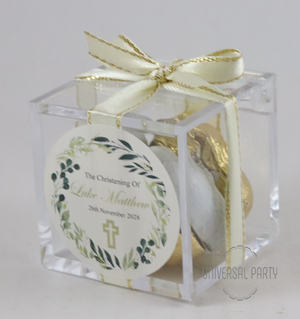 Personalised Greenery Floral Cross Square Acrylic Box Filled With Foiled Wrapped Chocolate Hearts