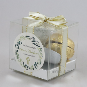 Personalised Greenery Floral Cross Square PVC Box Filled With Foiled Wrapped Chocolate Hearts