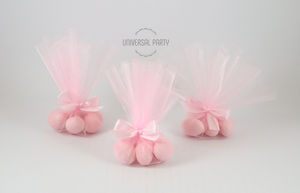 Pink Tulle Sugared Almond Christening Bombonieres
