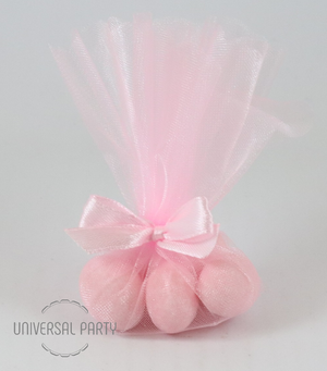 pink tulle sugared almonds baptism favour bombonieres