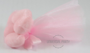 Pink Scalloped Eye Edge Tulle Filled With Sugared Almonds