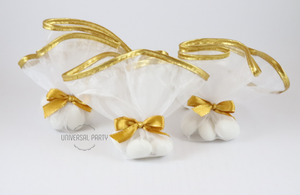 Tulle Sugared Almonds Wedding Bomboniere Favours. White Gold