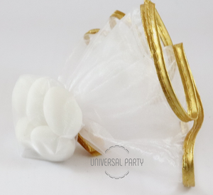 White Gold Edge Tulle Filled With Sugared Almonds