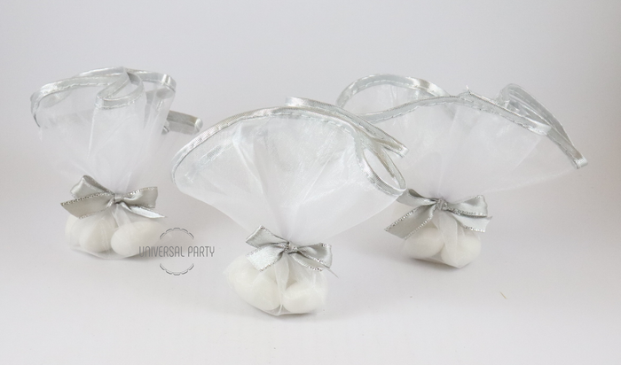 White Silver Edge Tulle Filled With Sugared Almonds