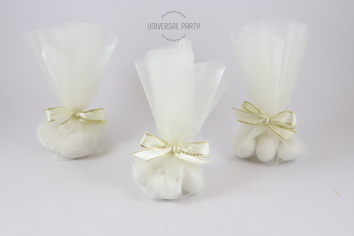 Ivory Organza Tulle Round Circle Filled With Sugared Almonds