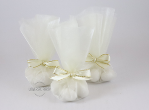 Wedding Favours. Wedding Bombonieres. Tulle Sugared Almonds White