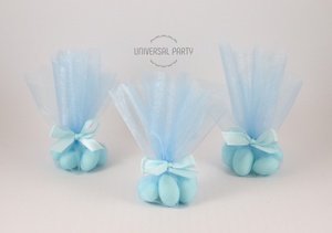 Blue Tulle Sugared Almonds Christening Bombonieres