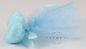 Blue Scalloped Edge Organza Tulle Round Circle Filled With Sugared Almonds