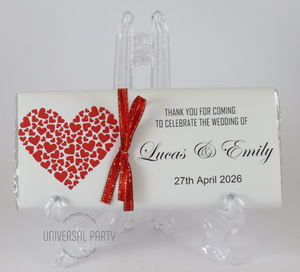 Personalised Red Hearts Chocolate Bar With Ribbon