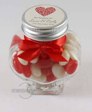 Personalised Red Hearts Glass Heart Shaped 60ml Jar Filled With Jelly Beans