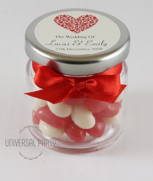 Personalised Red Hearts Glass Round 60ml Jar Filled With Jelly Beans