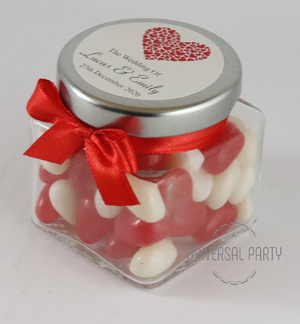 Personalised Red Hearts Glass Square 80ml Jar Filled With Jelly Beans