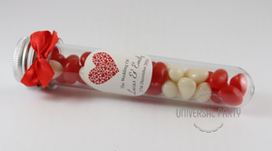 Personalised Red Hearts Acrylic Test Tube Jar Filled With Jelly Beans