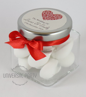 Personalised Red Hearts Glass Square 80ml Jar Filled With Sugared Almond