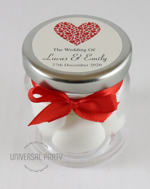 Personalised Red Hearts Glass Round 60ml Jar Filled With Sugared Almond