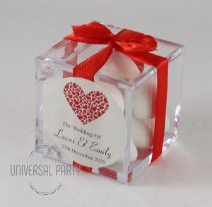 Personalised Red Hearts Square Acrylic Box Filled With Sugared Almond