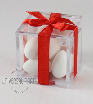Personalised Square Acrylic Box Filled With Sugared Almonds - Red Hearts Themed