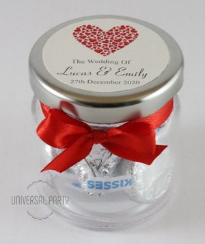 Personalised Red Hearts Glass Round 60ml Jar Filled With Hersheys Chocolate Kisses