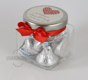 Personalised Red Hearts Glass Square 80ml Jar Filled With Hersheys Kisses Chocolate