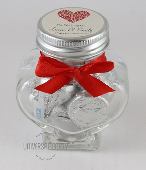 Personalised Red Hearts Glass Heart Shaped 60ml Jar Filled With Chocolate Hersheys Kisses