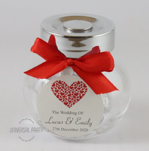 Personalised Red Hearts Glass Mini 50ml Jar Filled With Hersheys Kisses Chocolate