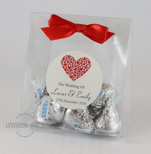 Personalised Red Hearts PVC Box Filled With Hersheys Kisses Chocolate