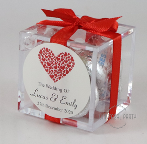 Personalised Red Hearts Square Acrylic Box Filled With Hersheys Kisses Chocolate
