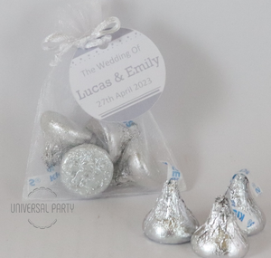 Personalised Organza Bag Filled With Hershey's Kisses Chocolate - Solid Patterned
