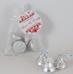 Personalised Organza Bag Filled With Hershey's Kisses Chocolate - Patterned