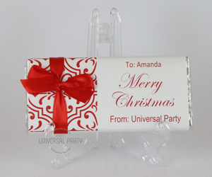 Personalised Christmas Red Pattern Chocolate Bar With Ribbon
