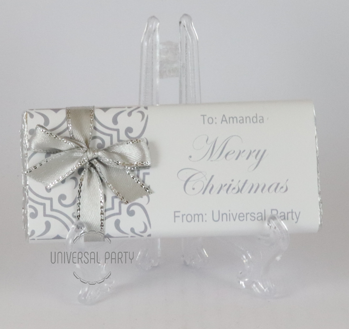 Personalised Christmas Grey Silver Pattern Chocolate Bar With Ribbon