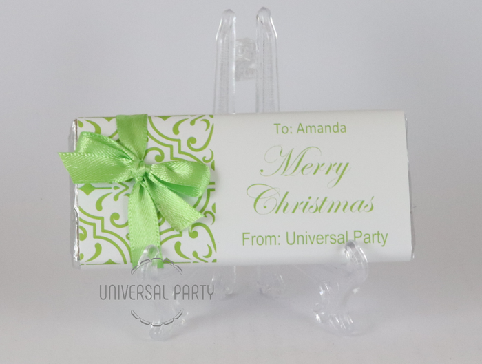 Personalised Christmas Lime Green Pattern Chocolate Bar With Ribbon