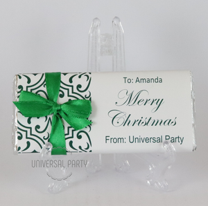Personalised Christmas Dark Green Pattern Chocolate Bar With Ribbon