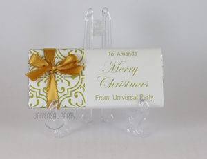 Personalised Christmas Gold Pattern Chocolate Bar With Ribbon