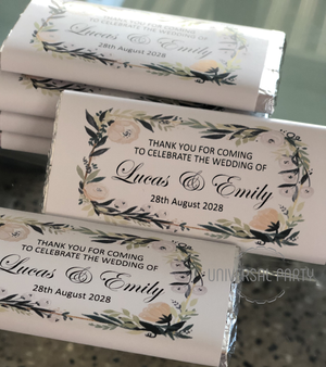 Personalised Floral Greenery Chocolate Bar
