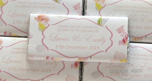 Personalised Soft Pink Floral Chocolate Bar
