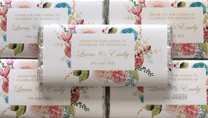 Personalised Pink Gold Floral Themed Chocolate Bar
