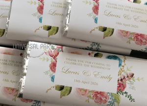 Personalised Pink And Gold Floral Themed Chocolate Bar