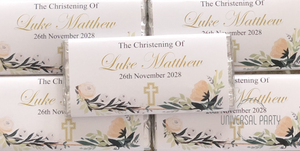 Personalised Greenery Floral Cross Chocolate Bar