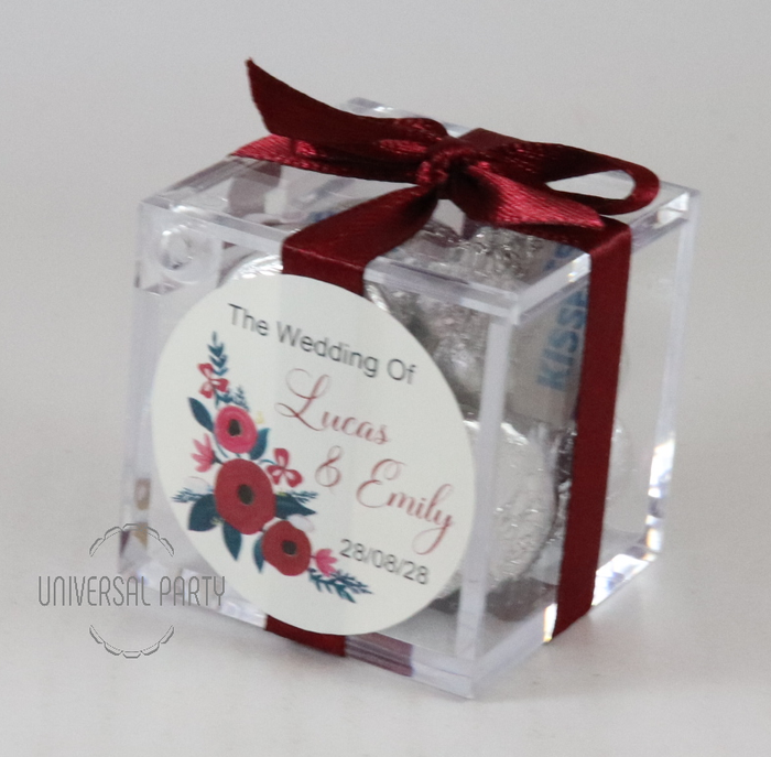 Personalised Square Acrylic Box Filled With Hersheys Kisses Chocolate - With Sticker - Red Floral Themed
