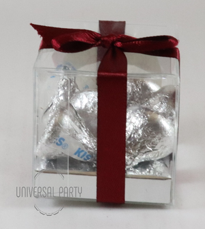 Personalised Square PVC Box Filled With Hersheys Kisses Chocolate - With Sticker - Red Floral Themed