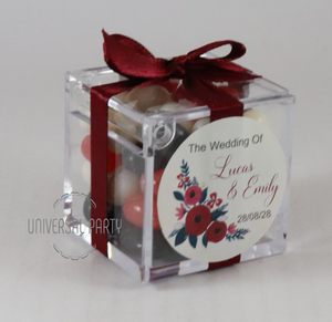 Personalised Square Acrylic Box Filled With Jelly Beans -With Sticker - Red Floral Themed