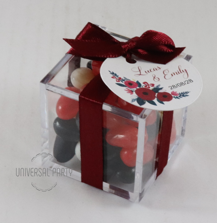 Personalised Square Acrylic Box Filled With Jelly Beans -With Tag - Red Floral Themed