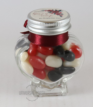 Personalised Glass Heart 60ml Jar Filled With Jelly Beans - Red Floral Themed