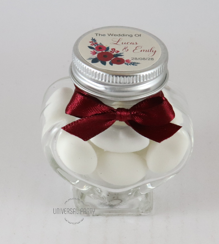 Personalised Glass Heart 60ml Jar Filled With Sugared Almonds - Red Floral Themed