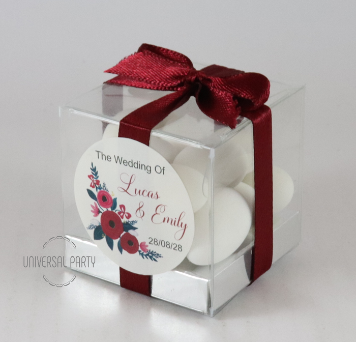 Personalised Square PVC Box Filled With Sugared Almonds - With Sticker - Red Floral Themed
