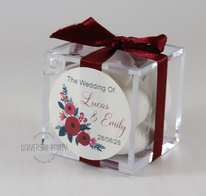 Personalised Square Acrylic Box Filled With Sugared Almonds - With Sticker - Red Floral Themed